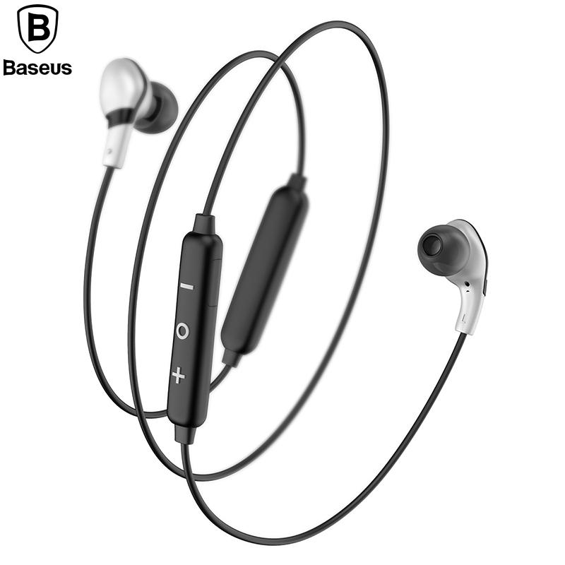 Baseus S04 Magnet Wireless Bluetooth Earphone Call Vibration Hifi Stereo Sport Headset With Mic For iPhone Xiaomi Android new dacom carkit mini bluetooth headset wireless earphone mic with usb car charger for iphone airpods android huawei smartphone
