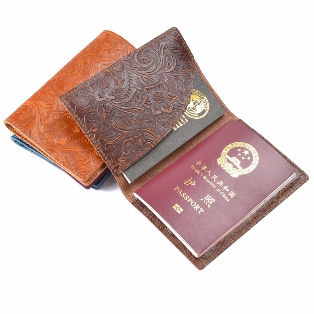 100% Genuine Cohide Leather Passport Cover Solid Credit ID Card Case Holder Embossed Flower Leather Travel Wallet