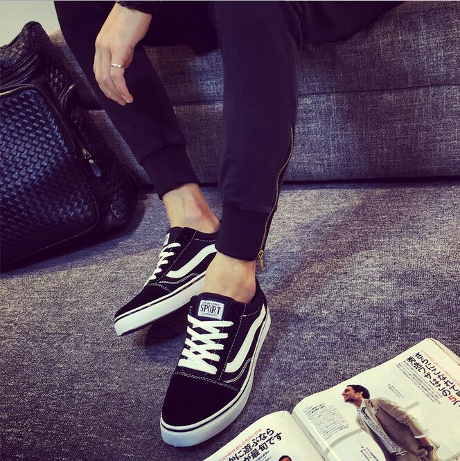 ФОТО new fashion style mens Black canvas shoes breathable casual shoes men's lace up Platform jean causal shoes for men A835