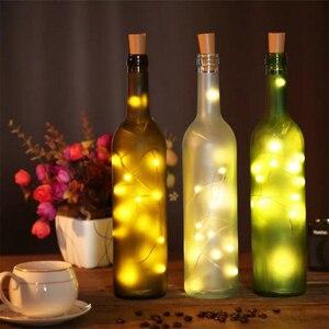 Image 2 - Corda de luzes de vinho com 20 leds, 6 peças, fio de cobre prateado, luzes para festa em casa, casamento decoração