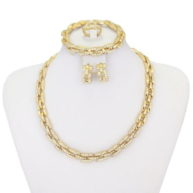 1eb6692f400a 2018 новые модные украшения Дубай золотые Ювелирные наборы Свадебные  украшения для невесты набор итальянских ювелирных украшений