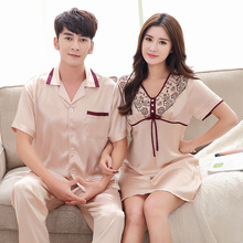 Spring summer autumn couples new silk clothes suit short sleeved nightgown for men lovers women night skirt skin friendly