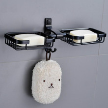 Black Bathroom Double Soap Dishes Holder Shelf Dish Tray Hardware Accessories