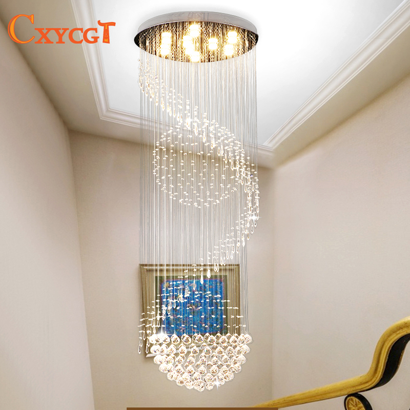 Lighting Basement Washroom Stairs: Long Size Crystal Ceiling Light Fixture Modern Lustre De