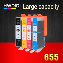 4 color Ink cartridge For HP 655 black C M Y for hp655 used for Deskjet 5525 3525 4615 4625 4525 Printers  used used m plc q33b fy03