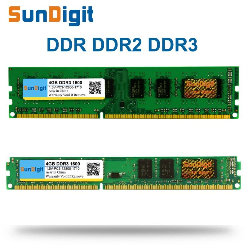 SunDigit DDR 1 2 3 DDR1 DDR2 DDR3/PC1 PC2 PC3 512 MB 1 GB 2 GB 4 GB 8 GB 16 GB Computer Desktop PC RAM Speicher 1600 MHz 800 MHz 400 MHz