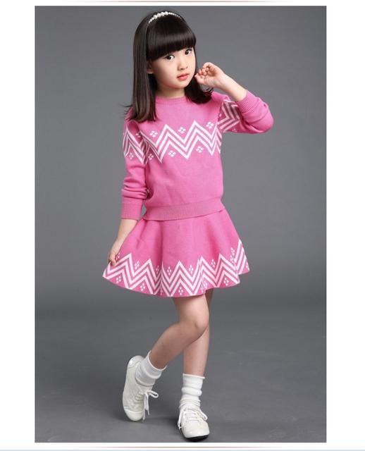 Ropa de la muchacha 2016 de otoño invierno de punto camisa de falda de los niños 4-9 años de edad, niña de espesamiento de la moda Sistema de la falda