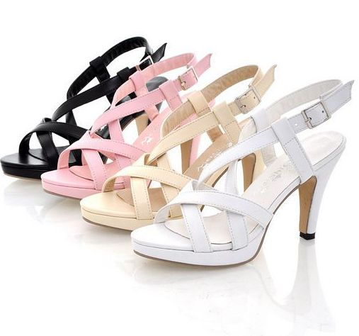 ФОТО Women's summer brand new heeled  cut-outs sandals shoes WY130 black pink white ankle buckle strap platforms gladiator sandals