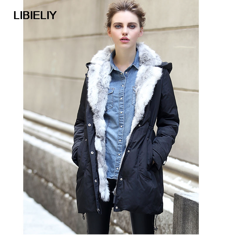 Nice Women Down Warm Long Gift Coat Jacket Parka Zipper Fashion New Winter Outerwear Rabbit Fur Collar New Plus Size Thick 2017 winter new clothes to overcome the coat of women in the long reed rabbit hair fur fur coat fox raccoon fur collar
