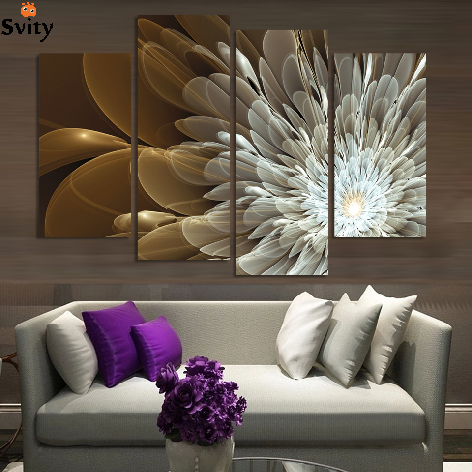 With Frame 4 Panels Transparent FLOWER Paintings Print On Canvas For Modern Home Living Room Decorations
