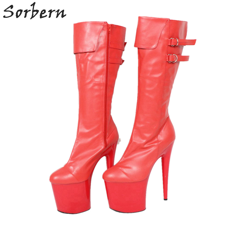 Sorbern 20 سنتيمتر شفافة الكعوب منصة جديد وصول الأحذية 2018 حذاء برقبة للركبة الإناث حار الكعوب الصين حجم 46 الكعوب الأحمر/ الأبيض-في بوت للركبة من أحذية على  مجموعة 3