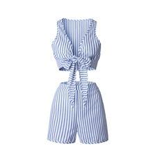 Casual Striped Playsuit Deep V Neck Tank Sexy Bodysuit Women Shorts Boho Jumpsuit vestido Summer Style Bow Resort Wear Romper