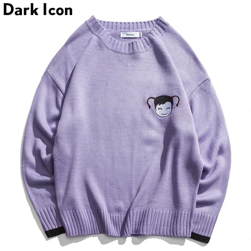 Men's Sweater Purple Preppy-Style Pullover Embroidery Winter Blue Young Boy