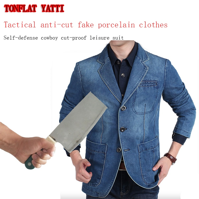 2019New Tactical Self Defense Anti-stab Cut Imitation Denim Jacket Military Swat Defensa Personal Leisure Protective Clothing