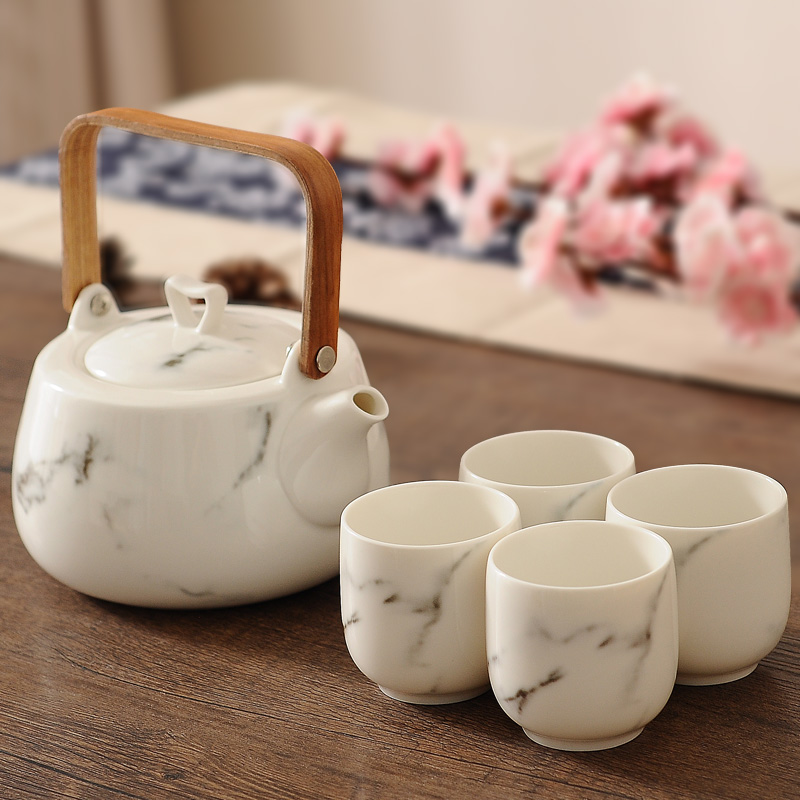Chinese Brewing Tea Teaware Set Ceramic Marble Texture Handle Teapot with Teacup Office Master Tea Bowls Coffee Pot DrinkwareChinese Brewing Tea Teaware Set Ceramic Marble Texture Handle Teapot with Teacup Office Master Tea Bowls Coffee Pot Drinkware