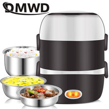 DMWD Mini Electric Rice Cooker Stainless Steel 2/3 Layers Steamer Portable Meal Thermal Heating Lunch Box Food Container Warmer(China)