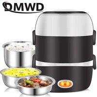 Dmwd mini panela de arroz elétrico aço inoxidável 2/3 camadas a vapor portátil refeição aquecimento térmico lancheira recipiente comida mais quente|Panelas elétricas arroz|   -
