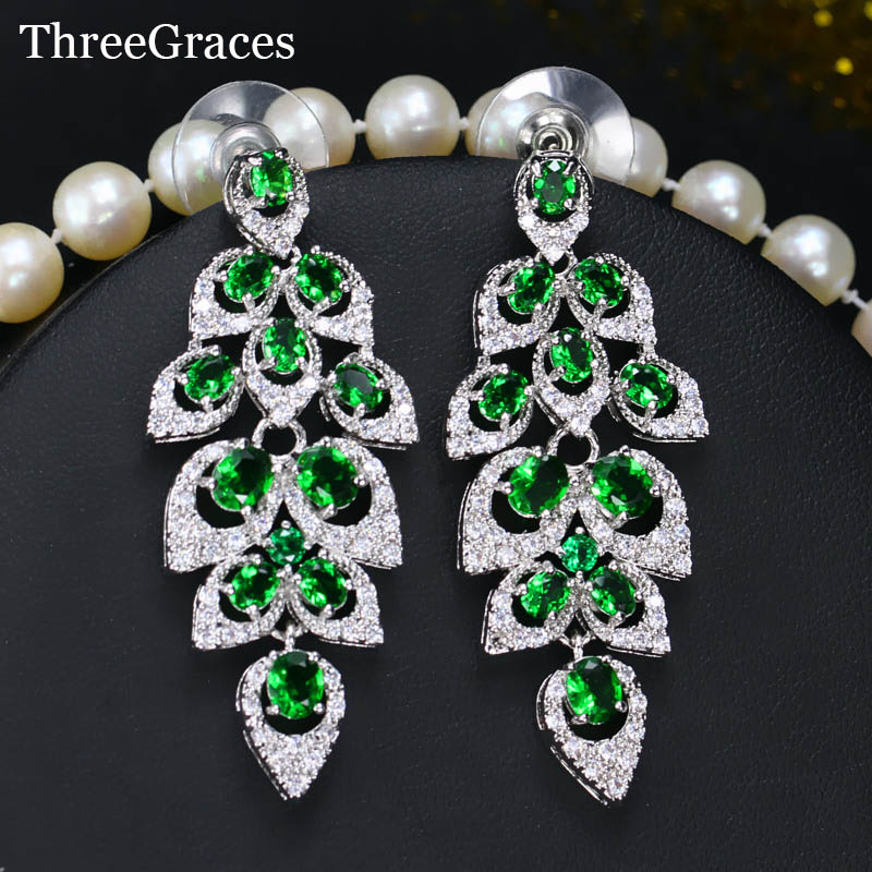Threegraces vintage bridal wedding jewelry cubic zircon stone long threegraces vintage bridal wedding jewelry cubic zircon stone long green chandelier dangle earrings for brides er059 in drop earrings from jewelry mozeypictures Gallery