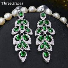 Threegraces Винтаж Свадебные украшения кубический камень циркон длинный зеленый люстра Длинные Висячие серьги для невесты ER059