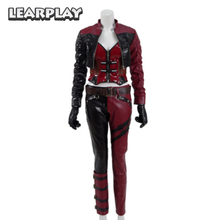 Injustice 2 Harley Quinn Cosplay Costumes 2017 Gameplay Women fight Suit PU leather Clown Fancy Dress Adult Halloween Outfit