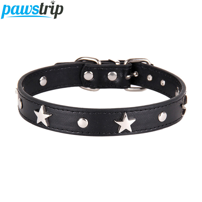 pawstrip 6 Colors Star Studded Dog Collar Leather Puppy Neck Strap Cat Collar Adjustable font b