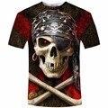 Camisa dos homens T 2017 Nova Marca de Moda dos homens Do Crânio 3D Impresso Camiseta Plus Size S-5XL Homens Roupas Casuais Camiseta Masculino