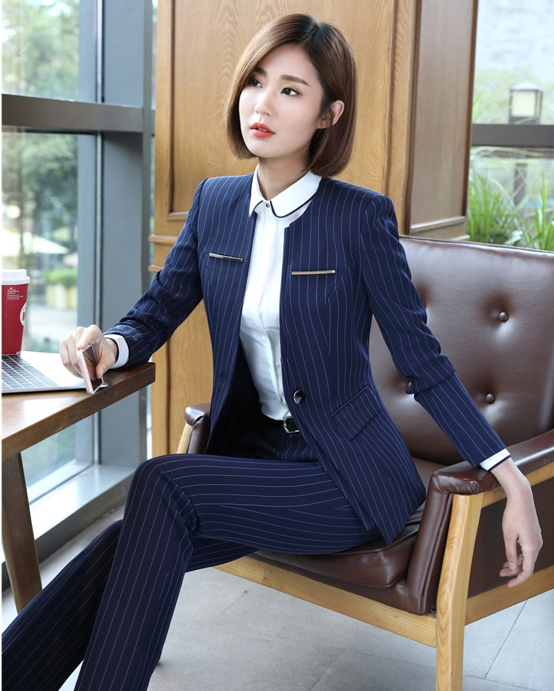 blue Costumes Uniforme Formelle Striped Black Work D'affaires Ladies Blazer Et Wear Noir Ensembles Femmes Rayé Striped Conceptions Veste Bureau Qualité Pantalon black Haute aS5xYnq1x
