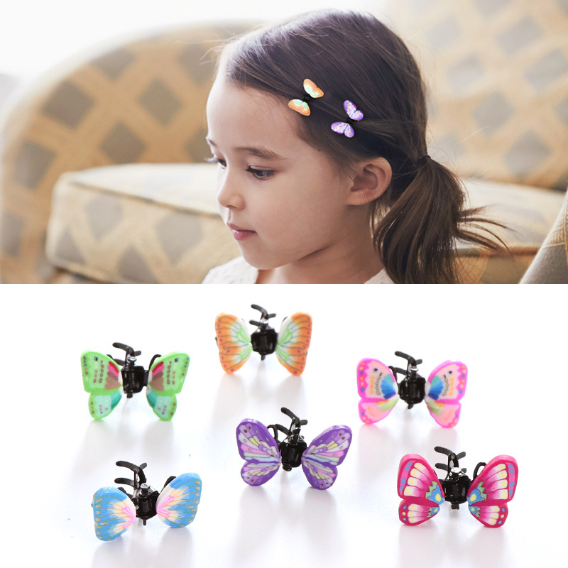 6/pcs Girls Alloy Crab Claw Clip Retro Butterfly Hairpin Children Hair Accessories Cute Hair Clips Headwear Kids Baby Headdress women headwear gift rhinestone hair claw butterfly flower hair clip 5 5cm long middle size bow hair accessories for girls