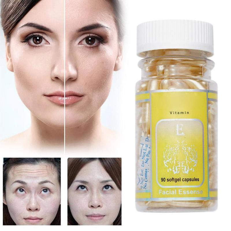90pcs/bottle Vitamin E Essence Capsules Anti-aging Serum Spot Acne Removing Whitening Cream Essence VE Facial Freckle Capsule