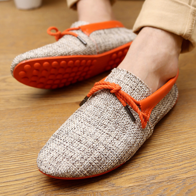 Mens Loafers Breathable Canvas Flat Linen Slip  On Driving Moccasins Shoes Size