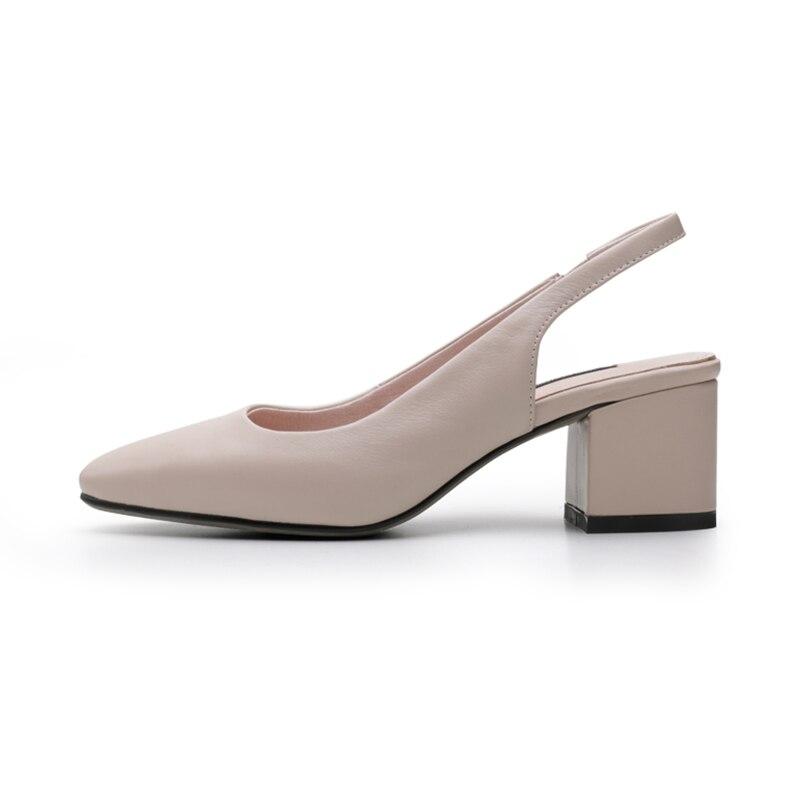 ISNOM 2019 หนังหนารองเท้าส้นสูงรองเท้าแตะผู้หญิงสแควร์ Toe สายคล้องคอรองเท้าแฟชั่นฤดูร้อนสำนักงานหญิงรองเท้าขนาดใหญ่ 40-ใน รองเท้าส้นสูง จาก รองเท้า บน   3