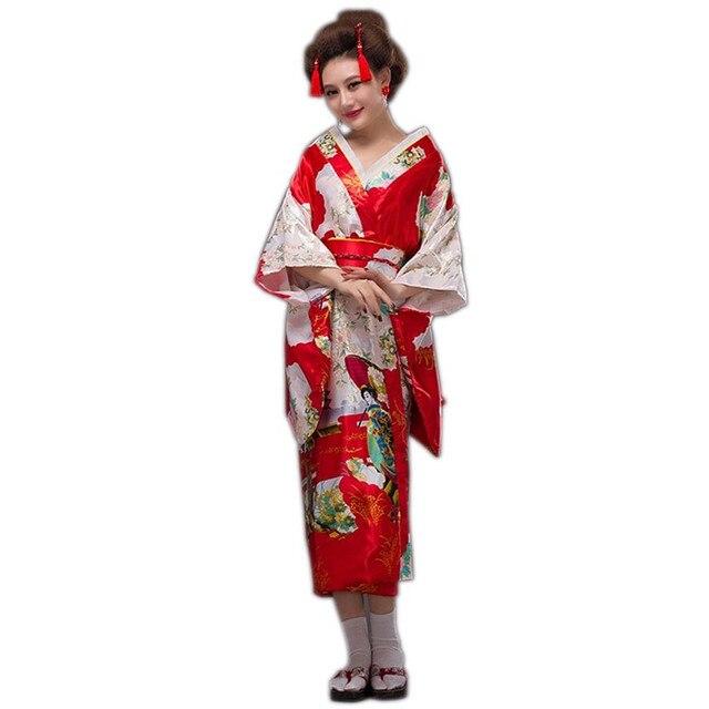 huge discount fc635 43b14 US $19.8 45% di SCONTO|2020 Della Signora Giapponese Rosso di Modo  Tradizionale di Seta Kimono Dell'abito Yukata Con Obi Abito Da Sera  Prestazione ...