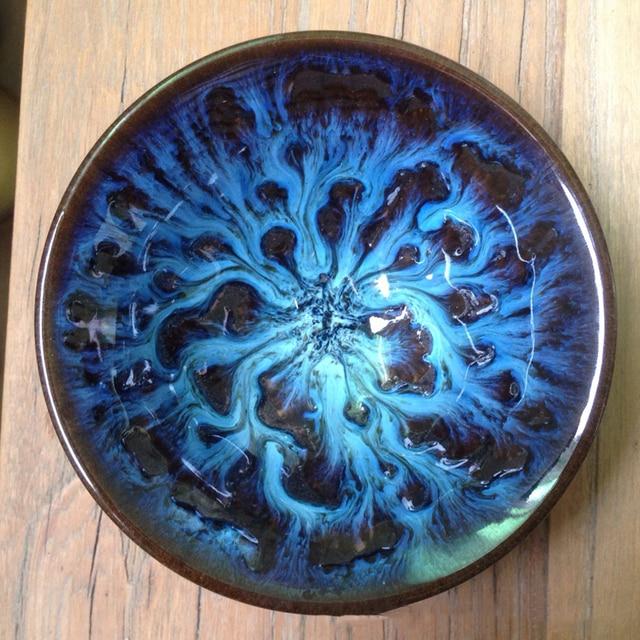 Blue Temmoku Glaze Porcelain Teacups