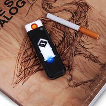 1 PC wiatroodporny fajny prezent bezdymny bezpłomieniowy USB wiatroodporny zapalniczka do ładowania elektroniczne zapalniczki akcesoria do palenia tanie tanio Other
