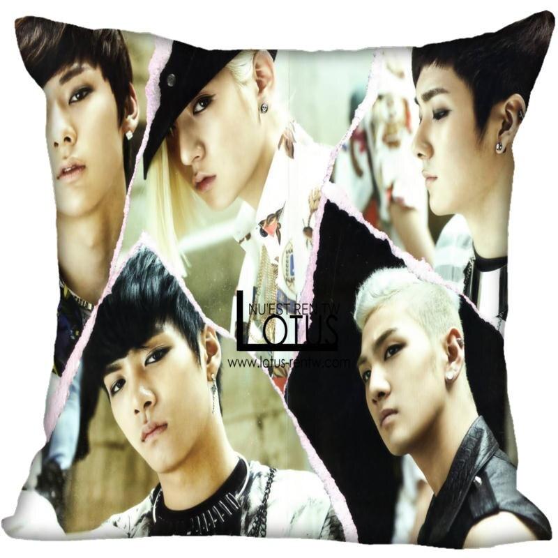 New Custom Kpop NU'EST Pillowcases Printed Square Silk Pillowcase Home Decorative Zipper Satin Pillowcases (One Side)