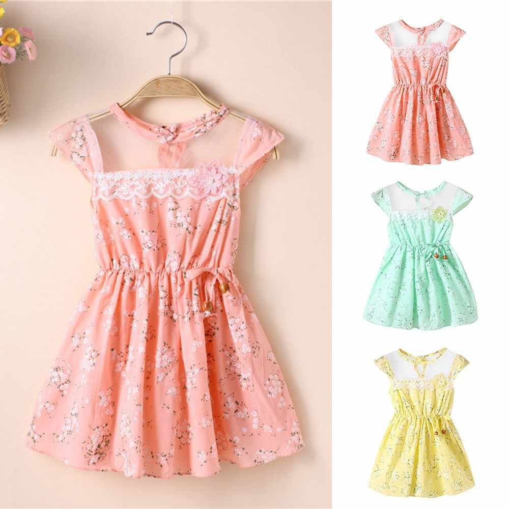 Kids Dresses For Girls Party Dress Newborn Princess Dress Toddler Baby Girls Floral Print Lace Net Casual Princess Dress Clothes