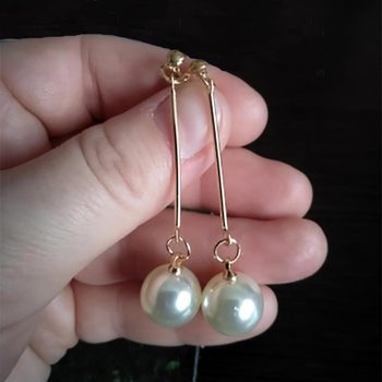 Pearl Long Drop Dangle Earrings