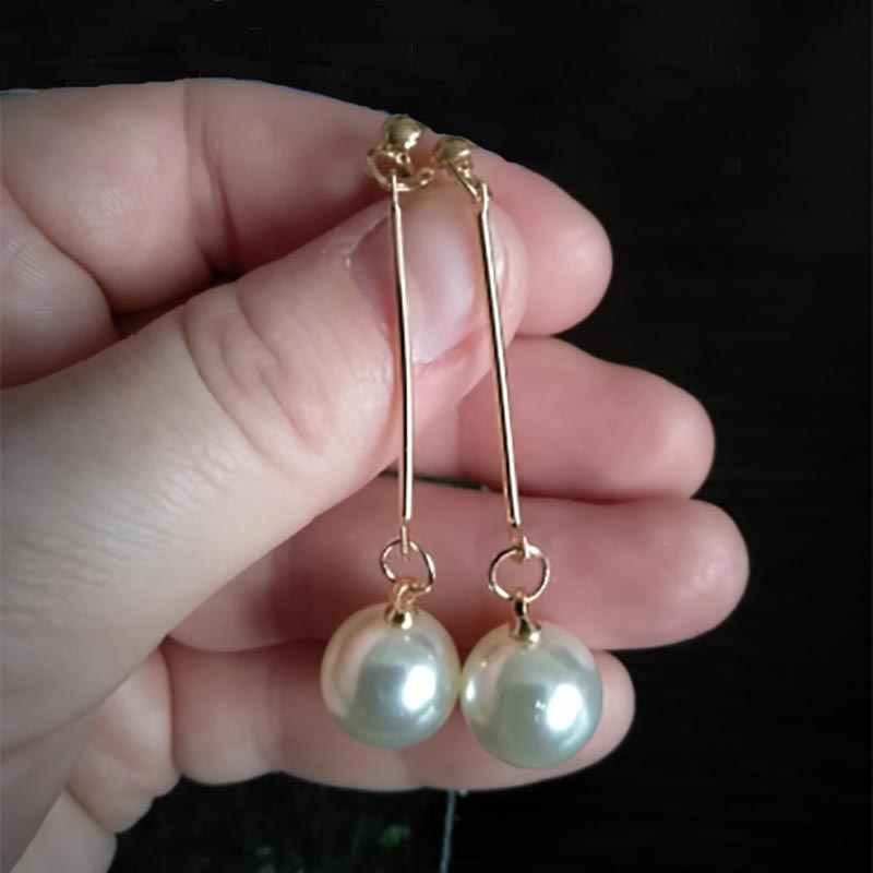 Korean Simulated Pearl Long Drop Dangle Earrings For Women Beads Round Geometric Gold Color Metal African Bridal Earrings EB478