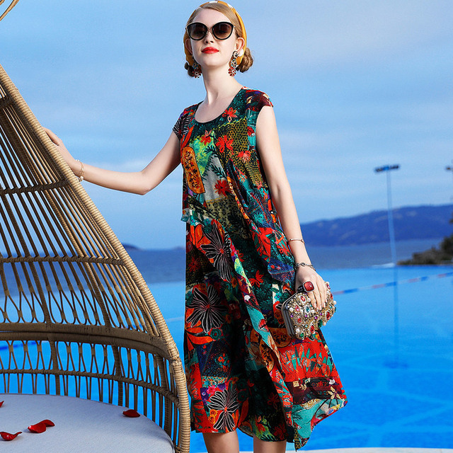 L10HT1801 New Fashion 2019 Spring and Summer Women's Clothing Retro Printed Clothes Ladies 100% Silk Long Dress