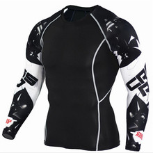 Men's Fitness 3D Print Long Sleeve Cycling Fitness Compression Foundation Layer MMA Tights Jersey