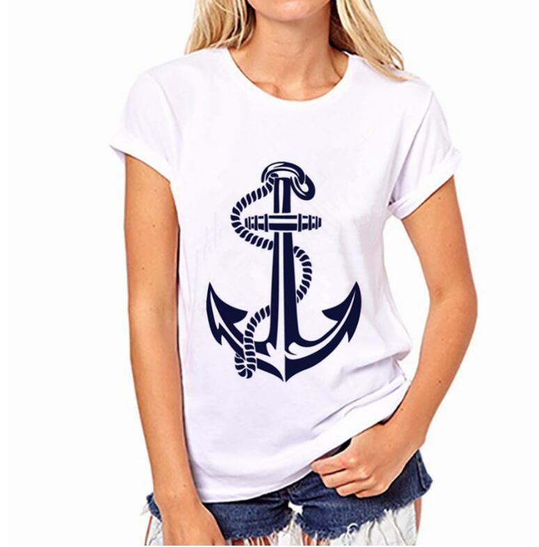 New Women's Anchor T-shirt With Short Sleeves Round Collar  Short Sleeve Summer  Fashion Sexy Design Casual Round Neck T-shirts