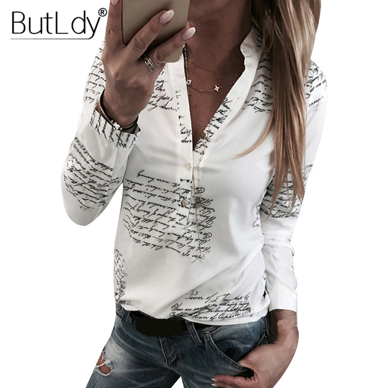 Letter Print   Blouse   Women V Neck Buttons Long Sleeve Casual   Blouse     Shirt   Femme Autumn Winter Fashion 2018 White Tops   Blouses