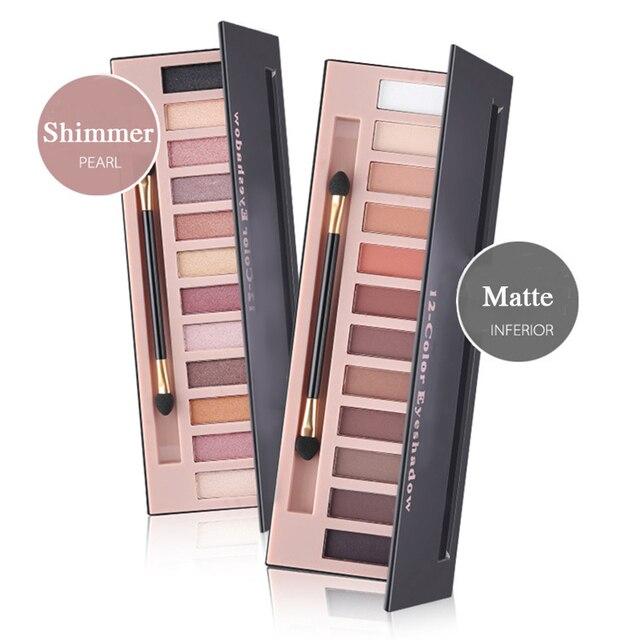 Pro 12 Цветов мерцание или матовые тени для век макияж Палитра долгое тени натуральных теней для век с кистью