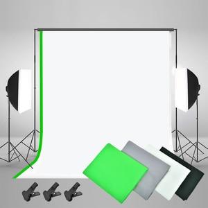 Image 4 - Zuochen Fotostudio Led Licht Softbox Verlichting Kit 4 Achtergronden Voor Fotografie Schieten Facebook Live