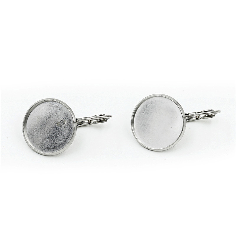 8/10/12/14/16/18/20mm <font><b>Stainless</b></font> <font><b>Steel</b></font> <font><b>Blank</b></font> French Earring <font><b>Tray</b></font> Glass Cabochon <font><b>Setting</b></font> Cameo <font><b>Bezels</b></font> Base Jewelry Supply K0781
