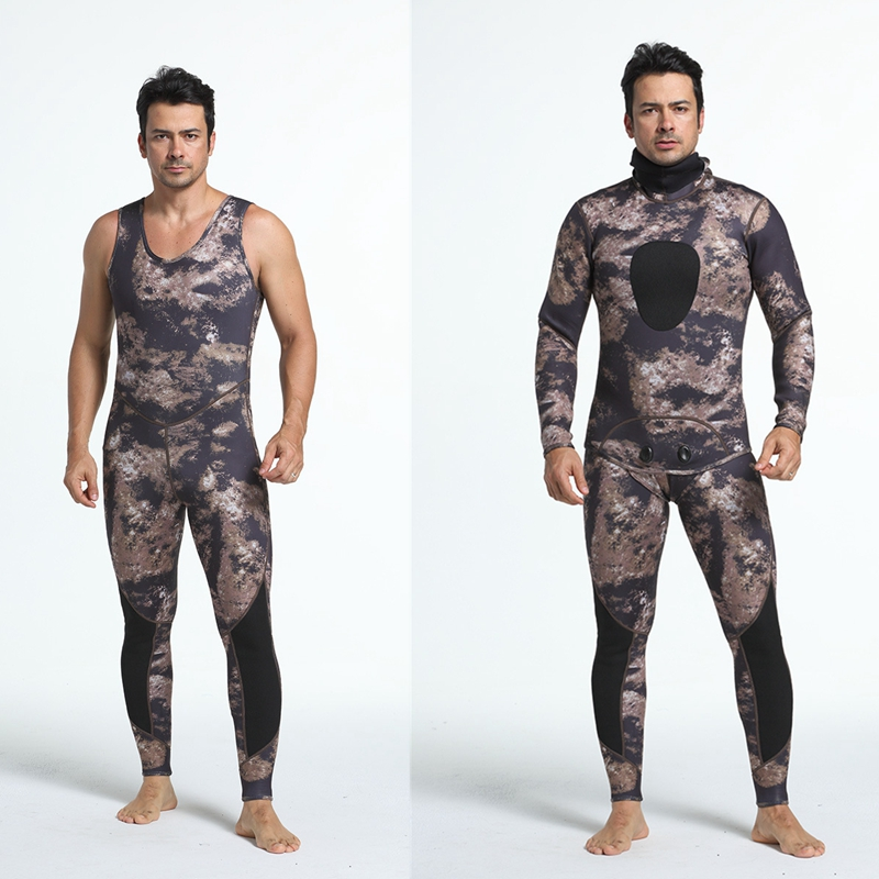 3mm Camo Scuba Diving Suit Set Men Fishing and Hunting Surfing Suit Wetsuit Swimsuit Swimwear Long Sleeves Full Body fashion long sleeves surfing suit black grey size xl page 2