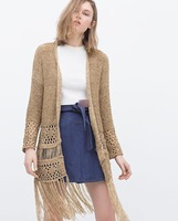 Za 2015 Women S Maxi Fringed Hollow Out Kimono Sleeved Jacket Long Sweater Knitted Crochet Cardigan