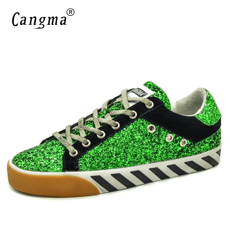Di Mujer Cangma Scarpe Sneakers Originale Vintage Appartamenti Da Marca Nero Paillettes Più Autunno Donna Glitter Dell'annata no Zapatos Dimensioni Verde Vintage 5n1q6rqx