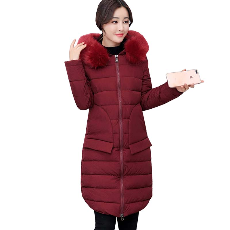 2017 New Winter Jacket Women long Slim Warm Female Fashion Cotton Coat Outerwear Thick Warm Winter Parkas Plus Size L-3XL 4L60 romantichut 2017 new long parkas female hooded thick coat down cotton winter jacket fashion warm women outerwear plus size 3xl
