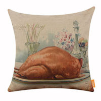LINKWELL 45x45cm Vintage Thanksgiving Day Delicious Food Meal Turkey Celebrate Party Accent Home Pillowcase Burlap Cushion